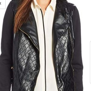 NY COLLECTION FAUX FUR MOTO JACKET